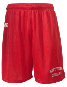 "Sutter Middle School Cougars  Russell Men's Mesh Shorts, 7"" Inseam"