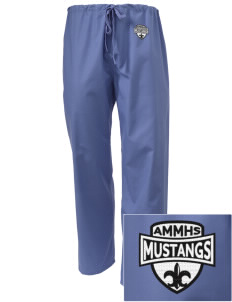 Asa Mercer Middle High Mustangs Embroidered Scrub Pants