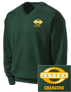 Jetton Junior High School Chargers Embroidered Men's V-Neck Sweater