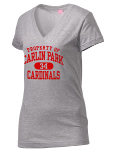 Carlin Park Elementary School Cardinals Juniors' Fine Jersey V-Neck Longer Length T-shirt