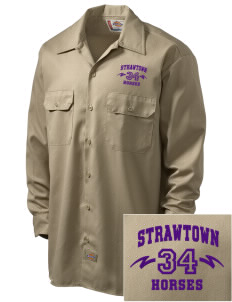 Strawtown Elementary School Horses Embroidered Dickies Men's Long-Sleeve Workshirt
