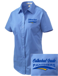 Cathedral Grade School Panthers Embroidered Women's Easy Care Short Sleeve Shirt