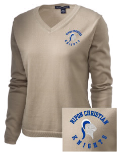 Ripon Christian School Knights Embroidered Women's V-Neck Sweater