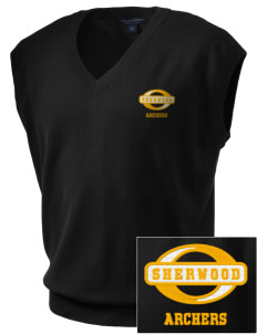 Sherwood Elementary School Archers Embroidered Men's Fine-Gauge V-Neck Sweater Vest