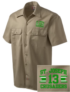 St. Joseph School Crusaders Embroidered Dickies Men's Short-Sleeve Workshirt