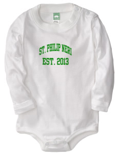Saint Philip Neri School Spartans  Baby Long Sleeve 1-Piece with Shoulder Snaps