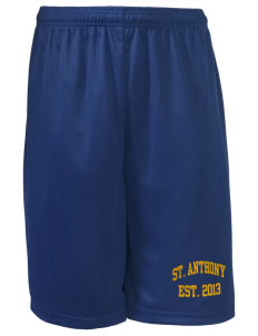 "Saint Anthony School Crusaders Long Mesh Shorts, 9"" Inseam"