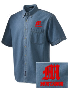 McAlder Elementary School Mustangs  Embroidered Men's Denim Short Sleeve