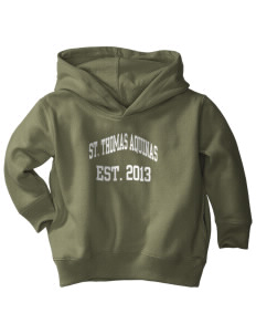 Saint Thomas Aquinas School Irish Shamrocks  Toddler Fleece Hooded Sweatshirt with Pockets