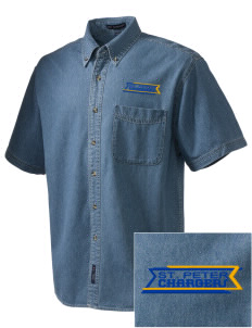 Saint Peter School Chargers  Embroidered Men's Denim Short Sleeve
