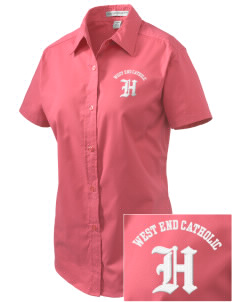 West End Catholic School Hornets Embroidered Women's Easy Care Short Sleeve Shirt
