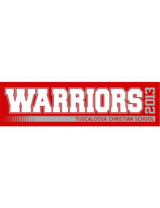 "Tuscaloosa Christian School Warriors Bumper Sticker 11"" x 3"""