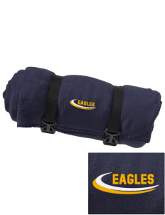 Deerfield Christian Academy Eagles Embroidered Fleece Blanket with Strap