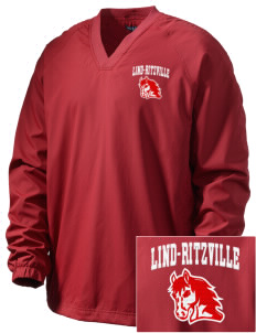 Lind-Ritzville Broncos Embroidered Men's V-Neck Raglan Wind Shirt