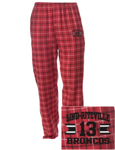 Lind-Ritzville Broncos Embroidered Men's Button-Fly Collegiate Flannel Pant