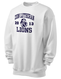 Zion Lutheran School Lions Men's 7.8 oz Lightweight Crewneck Sweatshirt