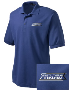First Lutheran School Vikings Embroidered Tall Men's Silk Touch Polo