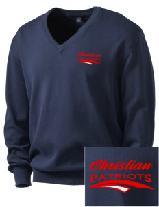 Christian Senior High School Patriots Embroidered Men's V-Neck Sweater