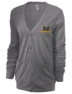 Menlo School Knights Unisex 5.6 oz Triblend Cardigan with Distressed Applique