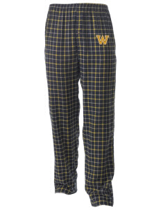 Washington School Generals Men's Button-Fly Collegiate Flannel Pant with Distressed Applique