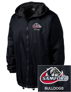Samford University Bulldogs Embroidered Dickies Men's Fleece-Lined Hooded Jacket