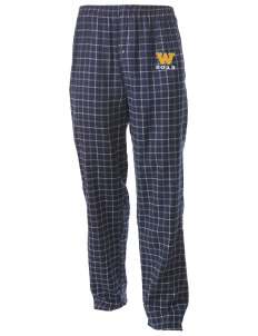 Whittier Elementary School Huskies Men's Button-Fly Collegiate Flannel Pant with Distressed Applique