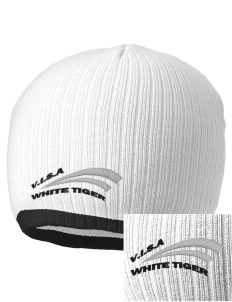 V.I.S.A White Tiger Embroidered Champion Striped Knit Beanie