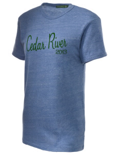 Cedar River School Raccoons Embroidered Alternative Unisex Eco Heather T-Shirt