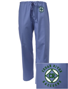 Cedar River School Raccoons Embroidered Scrub Pants
