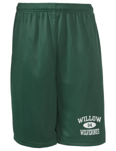 "Willow Elementary School Wolverines Long Mesh Shorts, 9"" Inseam"