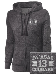fa'asao high cougars Embroidered Women's Marled Full-Zip Hooded Sweatshirt