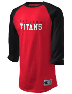 Skyline High School Titans Champion Men's Tagless Baseball T-Shirt