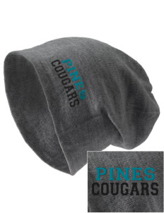 Pines Elementary School Cougars Embroidered Slouch Beanie