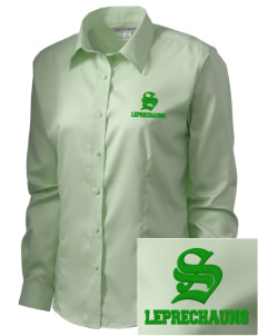 Shannon Elementary School Leprechauns  Embroidered Women's Long Sleeve Non-Iron Twill Shirt