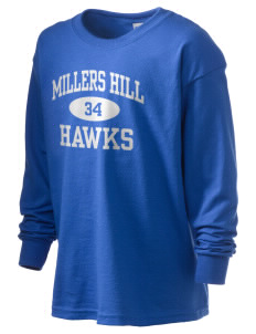 Millers Hill Middle School Hawks Kid's 6.1 oz Long Sleeve Ultra Cotton T-Shirt