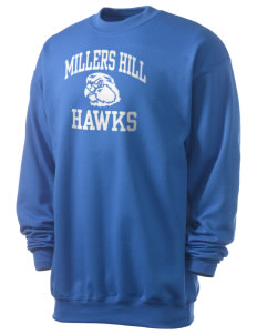 Millers Hill Middle School Hawks Men's 7.8 oz Lightweight Crewneck Sweatshirt