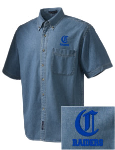 Caruthers High School Raiders  Embroidered Men's Denim Short Sleeve
