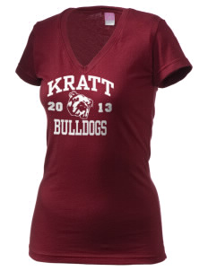 Kratt Elementary School Bulldogs Juniors' Fine Jersey V-Neck Longer Length T-shirt