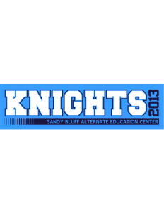 "Sandy Bluff Alternate Education Center Knights Bumper Sticker 11"" x 3"""