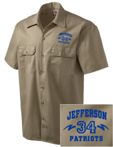Jefferson Elementary School Patriots Embroidered Dickies Men's Short-Sleeve Workshirt