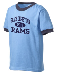 Grace Christian Academy Rams Kid's Ringer T-Shirt
