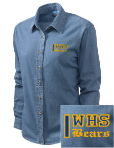 Warren High School Bears Embroidered Women's Long-Sleeve Denim Shirt