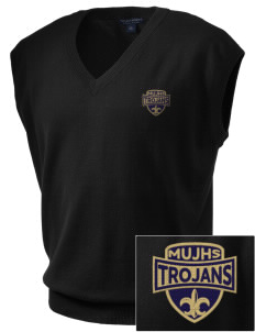 MOUNT UNION AREA jr.sr.HIGHSCHOOL TROJANS Embroidered Men's Fine-Gauge V-Neck Sweater Vest