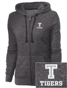 Thompson Elementary School Tigers Embroidered Women's Marled Full-Zip Hooded Sweatshirt