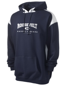 Roosevelt Elementary School Bears Men's Pullover Hooded Sweatshirt with Contrast Color