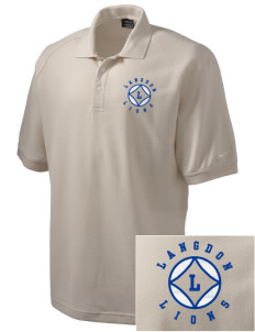 Langdon Elementary School Lions Embroidered Nike Men's Pique Knit Golf Polo