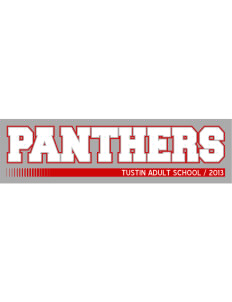 "Tustin Adult School Panthers Bumper Sticker 11"" x 3"""