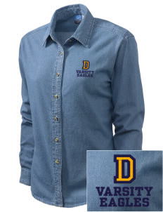 Diamond Elementary School Eagles Embroidered Women's Long-Sleeve Denim Shirt