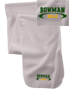 Bowman Elementary School Bulls  Embroidered Extra Long Fleece Scarf