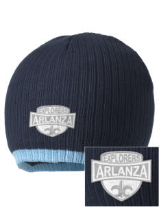 Arlanza Elementary School Explorers Embroidered Champion Striped Knit Beanie
